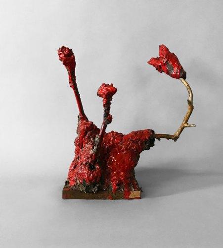 "Patrick Jacobs - ""Red Roses (Les Fleurs du Mal, #29),"" 2018, Mud, sticks, wood, wire, epoxy, 16 (H) x 13.25 (W) x 6.75 (D) inches"