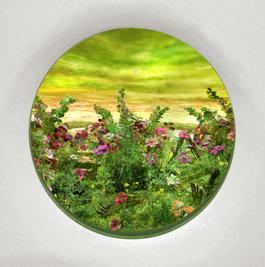 "Patrick Jacobs - ""Moonlit Bog with Anemones Hollyhock,"" 2020, Diorama viewed through 7.5 window"