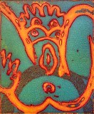 "Patrick Jacobs - ""Fish Taco (Night Spirits I),"" 2020, Unique Viscosity Print, 6 x 5 inches"