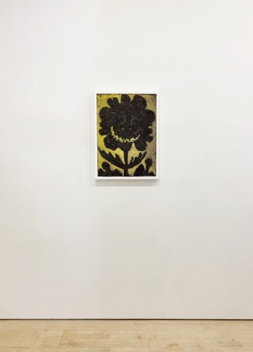 "Patrick Jacobs - ""Black Flower (Night Spirits II),"" 2020, Unique Viscosity Print, 24 x 18 inches. Installation view"