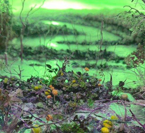 """Patrick Jacobs - Detail:  """"Purple Swamp with Moon,"""" 2019, Diorama viewed through 2 inch aperture"""