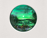 """Patrick Jacobs - """"Purple Swamp with Moon,"""" 2019, Diorama viewed through 2 inch aperture"""