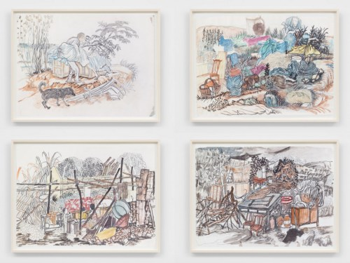 """Yun-Fei Ji - """"Untitled,"""" ca.2012, Ink, graphite, and watercolor on paper, Suite of four, 13 x 17.5 inches each"""