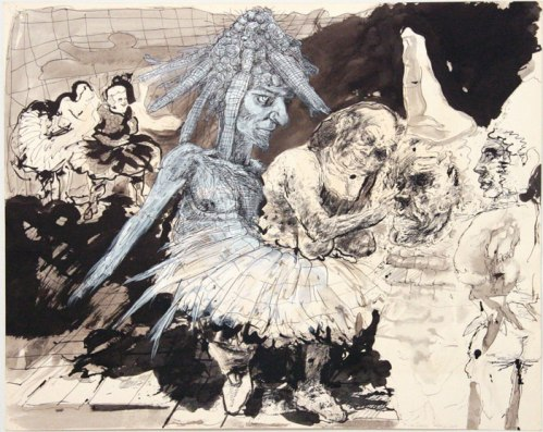 Untitled - 1972-2011, Acrylic and ink on paper, 22.5 x 28.5 inches