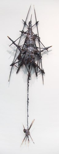 A.B.D. - 2011-14, Acrylic paint, wood, string, Approx. 25 x 15 inches