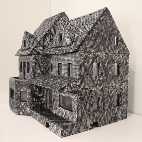 Doll House - 1974-2013, Acrylic and graphite on wood, Approximately 35 x 28 x 33 inches.