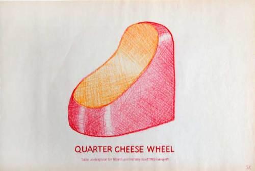 Stephen Kaltenbach - Quarter Cheese Wheel Table Center Piece for 50th Anniversary Slant Step Banquet