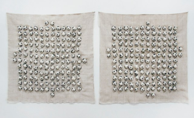 "Sermin Kardestuncer - ""301 Balls (Diptych),"" 2017, Cotton thread, coal, fabric, 37 X 37 x 1.5 inches each panel (37 x 75.5 x 1.5 inches overall)"