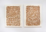 "Sermin Kardestuncer - ""Untitled,"" Diptych, 2009, Earth from Siena, Italy on muslin on washi with silk thread, 25 x 20 x 1/2 inches each panel (25 x 41.75 inches overall)"