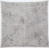 Untitled - 2014, Sooth, ink, earth, silk paper, thread, 19 x 19.5 inches