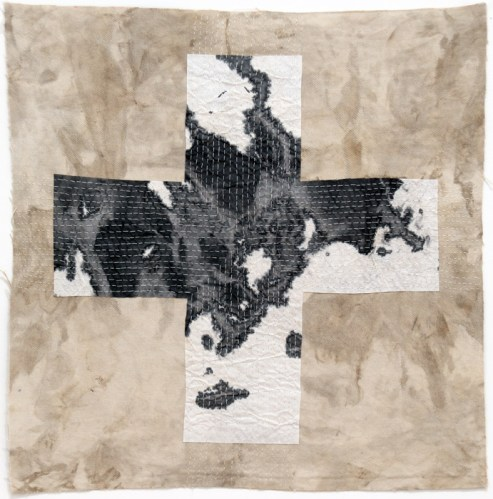 Untitled - 2011, Sooth on fabric, ink on rice paper, silk thread, 15 x 15 inches