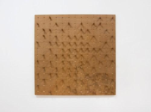 """Sermin Kardestuncer - """"Untitled,"""" 2017 , Wood, woodstain, thread, silk thread, 30 x 30 x 2.5 inches"""