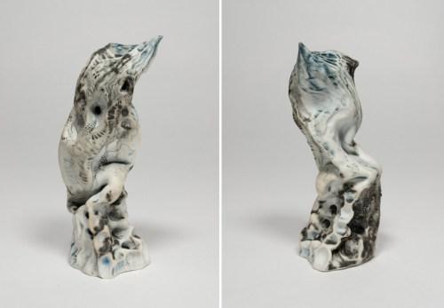 "Darina Karpov - ""Bird,"" (Two views), 2019, Glaze and underglaze on porcelain"