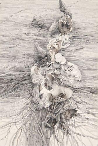 """Darina Karpov - """"Cones,"""" 2013, Watercolor on paper, 18 x 12 inches"""