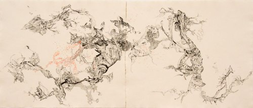 Failsafe System of Debris  II - 2012, Ink and oil on paper, 15 x 36 inches