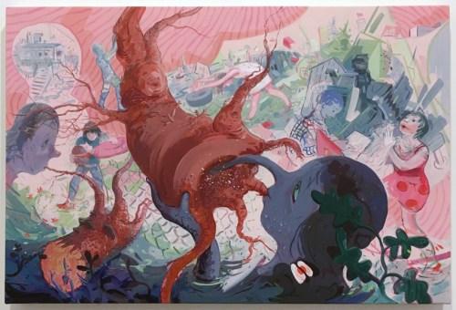 "Darina Karpov - ""Feeders,"" 2020, Acrylic on canvas, 20 x 30 inches"