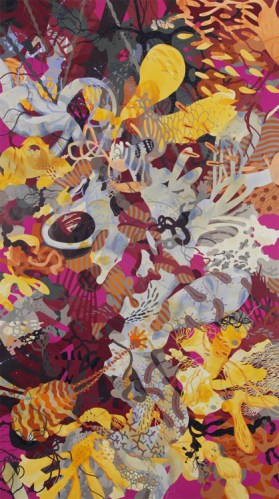 Invasions Contagions - 2015, Watercolor and acrylic on paper, 69.75 x 39 inches