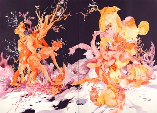 "Darina Karpov - ""Magic Days 3,"" 2015, Watercolor and acrylic on paper, 20 x 27 7/8 inches"