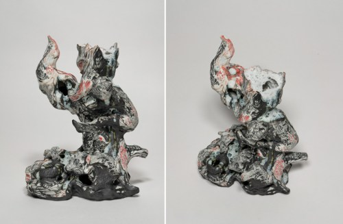 """Darina Karpov - """"Magic Days,"""" (Two views), 2019, Glaze and underglaze on porcelain, 10 (H) x 8 x 5 inches"""