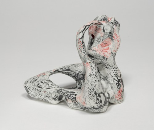 """Darina Karpov - """"Occupants 1,"""" 2019, Glaze and underglaze on porcelain, overall dimensions variable (ranging from 4–6 inches)"""