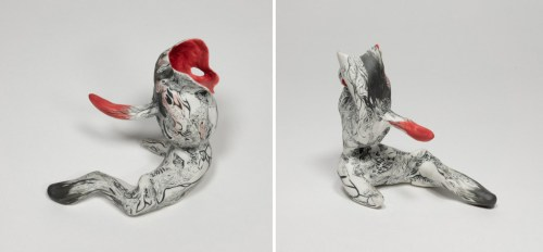 "Darina Karpov - ""Occupants 3,"" (Two views), 2019, Glaze and underglaze on porcelain, overall dimensions variable (ranging from 4–6 inches)"