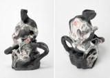 "Darina Karpov - ""Offspring II,"" (Two views), 2020, Glaze and underglaze on porcelain, 11 (H) x 7 x 7 inches"