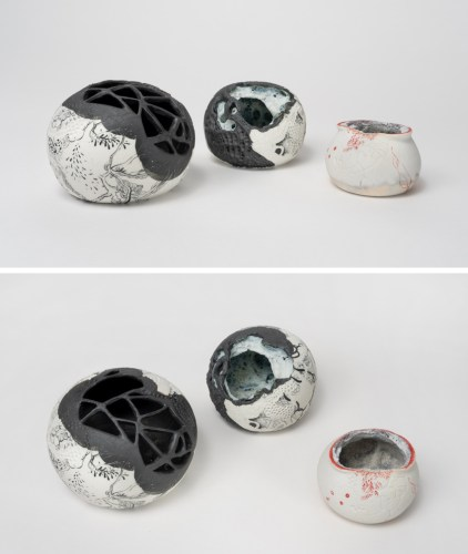"KarpovOrbsOfSongIntoOurDeepDearSilence3_Comp_DSC04634 - ""Orbs Of Song Into Our Deep Dear Silence,"" Group of three, 2019, Glaze and underglaze on porcelain, Ranging from 2.5–5 inches diameter each"