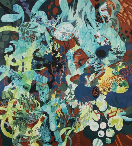 """Darina Karpov - """"Puzzles and Pagans,"""" 2015, Watercolor and acrylic on paper, 61 x 55 inches"""