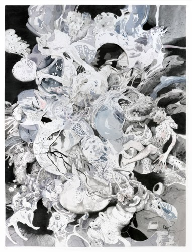 """Darina Karpov - """"Seized 4,"""" 2019, Watercolor and graphite on paper, 24 x 18 inches"""