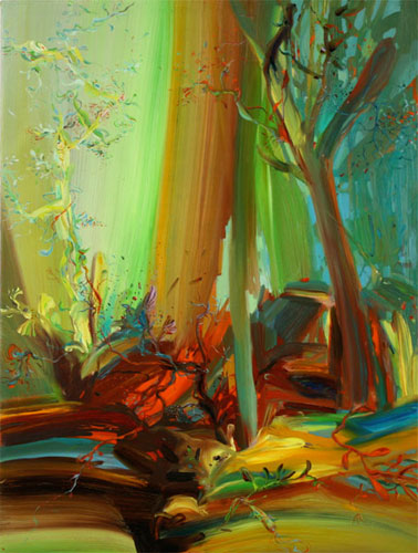 Signal Tree - 2010, Oil on canvas over panel, 12 x 9 inches