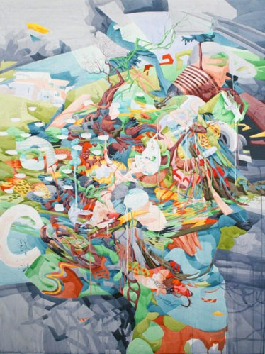 Spills and Shines - 2009, Watercolor, Gouache on Paper over Panel, 48 x 36 inches