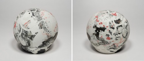 """Darina Karpov - """"The Eye Is The First Circle,"""" (Two views), 2019, Glaze and underglaze on porcelain, 6 x 6 x 6 inches"""
