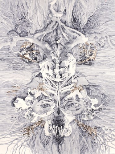"Darina Karpov - ""Totem 4,"" 2015, Watercolor on paper, 24 x 18 inches"
