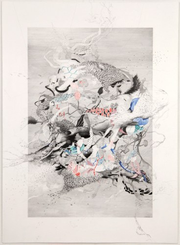 """Darina Karpov - """"Under The Spell 1,"""" 2015, Graphite,acrylic, and watercolor on paper, 19 x 14 inches"""