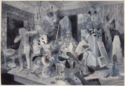 """Darina Karpov - """"Apartment,"""" 2013, Watercolor and ink on paper, 16 x 20 inches"""