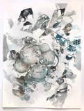 """Darina Karpov - """"Seized 2 (Suite 1–4),"""" 2019, Graphite and watercolor on paper, 24 x 18 inches"""