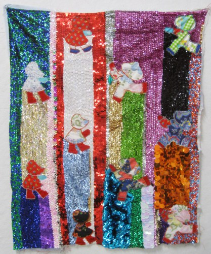 """Larry Krone - """"Then and Now (Holly/Pancho),"""" 2014, Vintage patchwork, quilt top, sequins, fabric, embroidery floss, 31 x 25 inches"""