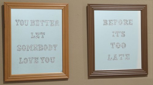Let Somebody Love You - 2003, Mirrors, aluminum foil, plastic frames, 11 x 9.5 inches each