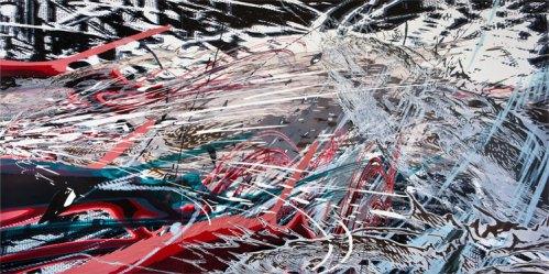 Breach - 2011, Acrylic on PVC panels, 72 x 144 inches