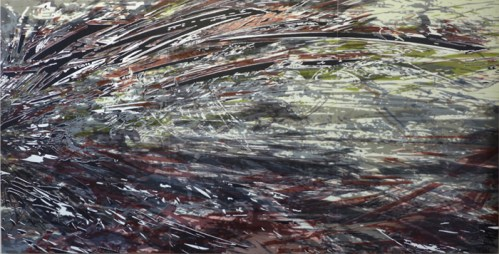 "Yoon Lee - ""Retribution (Bud),"" 2014, Acrylic on PVC panels, 72 x 144 inches"