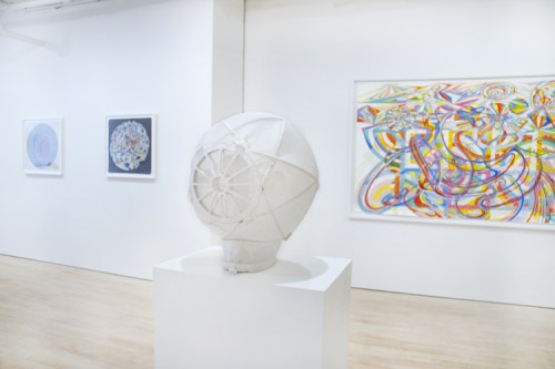 """Ati Maier - Installation view: """"Spacerider Helmet,"""" 2016, Nylon fabric, fiberglass poles and plastic, Designed and produced by Bruce Busby, Approx. 16 x 16 x 16 inches"""