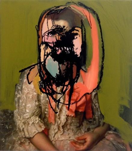 "Sean Mellyn - ""#PortraitoftheLadySelfie,"" 2015, Mixed media on canvas on panel,  23 x 20 inches"