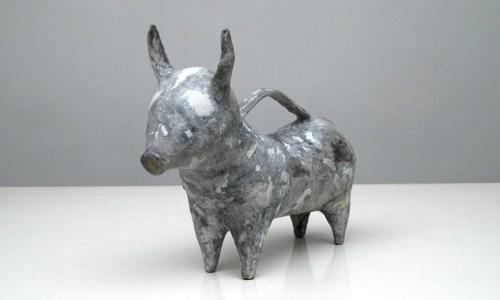 "Shari Mendelson - ""Grey Bull,"" 2013, Plastic, acrylic polymer, ""Magic Sculpt"" paint, 10.5 x 4 x 13 inches"