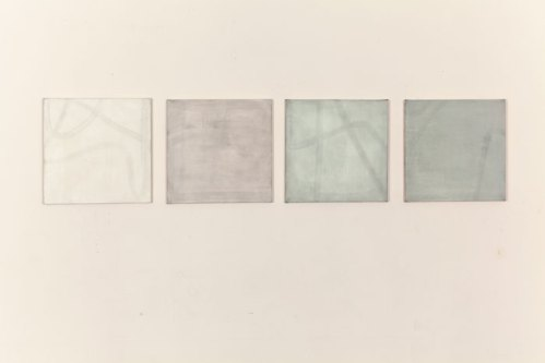 """Min ji Suh - """"Untitled (four paintings),"""" 2014, Oil on canvas, 20 x 20 inches"""
