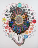 "John O'Connor - ""Implosion, Explosion,"" 2013, Graphite and colored pencil on paper, 74 x 57 inches"