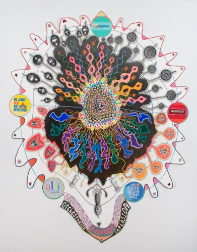 """John O'Connor - """"Implosion, Explosion,"""" 2013, Graphite and colored pencil on paper, 74 x 57 inches"""