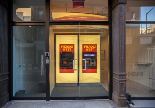 "Andrew Ohanesian - ""Pierogi West ATM Vestibule,"" 2016, Wincor Nixdorf Procash 2150XE, Plexiglass, vinyl, carpet, trash can, Multiple of 3, 87 x 119 x 130 inches"