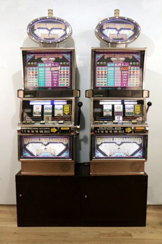 "Andrew Ohanesian - ""Slots,"" 2015, Mixed media, approximately 54 x 21 x 76 inches"