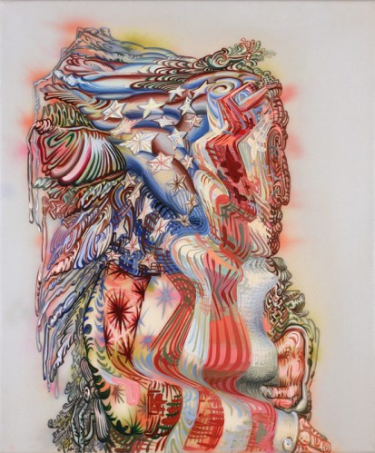 """James Esber - """"Painting Perpetually Shown,"""" 2013, Acrylic on canvas, 24 x 20 inches"""