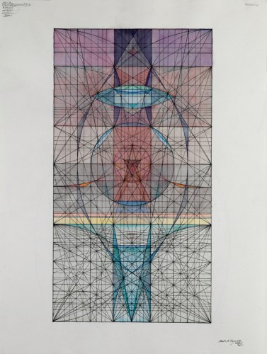 "Mark Reynolds - ""Phi Series: Alchemical Still with Alembic, 10.4.15,"" 2015, Watercolor and ink on cotton paper, 24 x 18 inches"